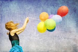 Mujer globos