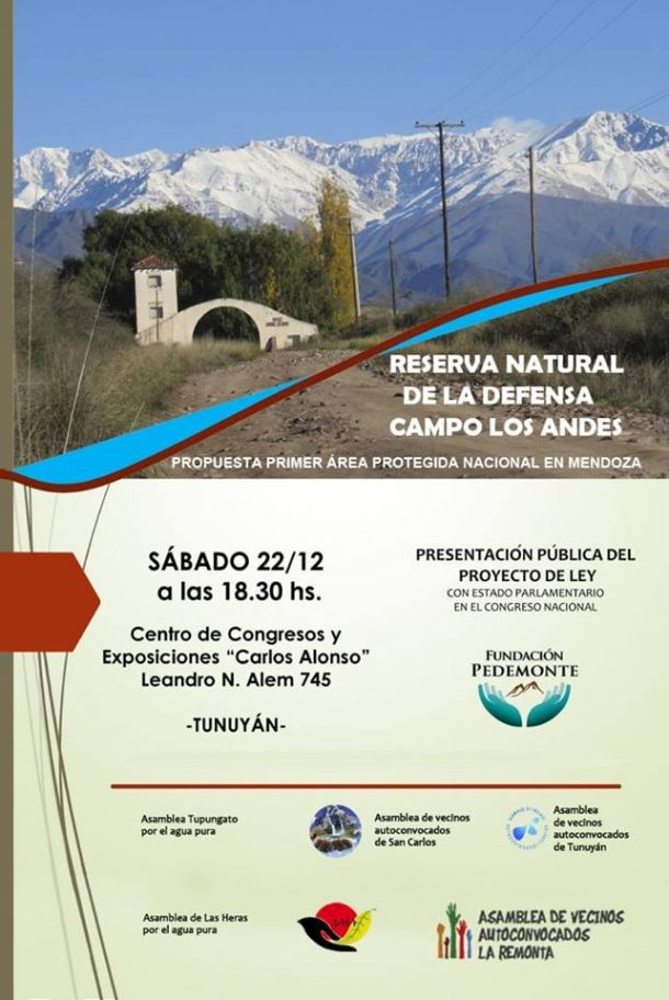 """""""Creación de la reserva natural de la defensa Campo los Andes"""" Proyecto de ley nacional"""